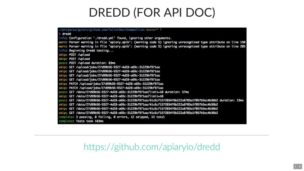 DREDD (FOR API DOC) https://github.com/apiaryio...