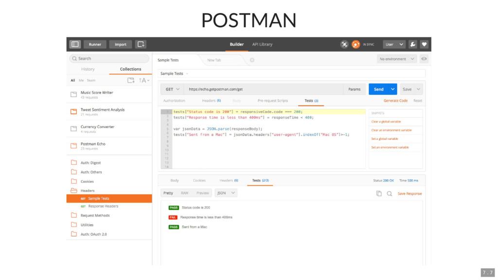 POSTMAN 7 . 7