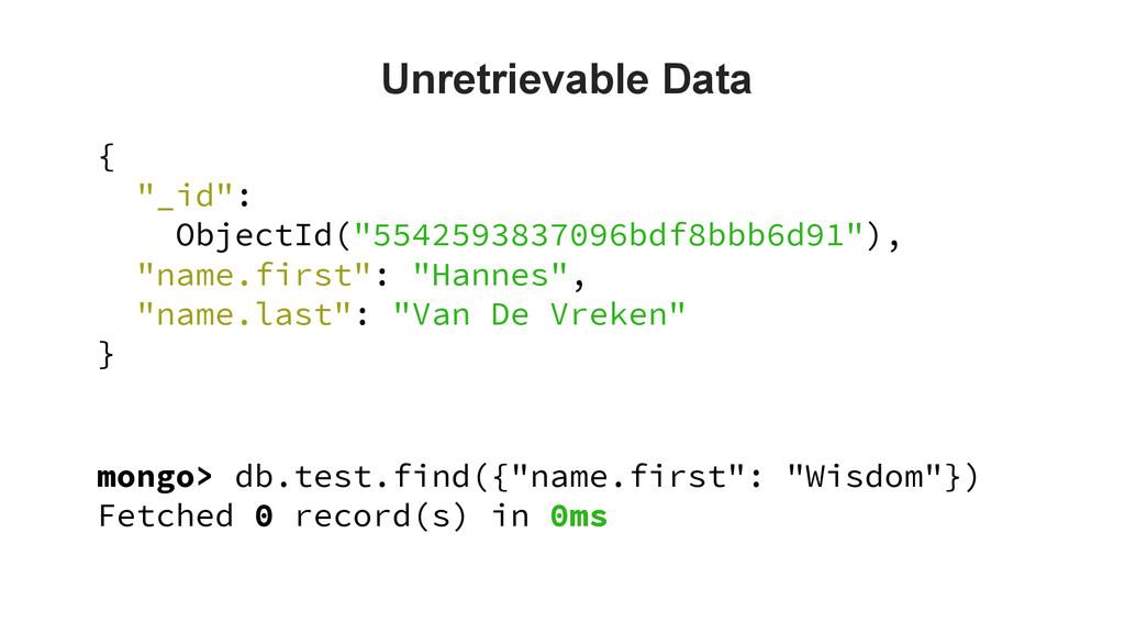 "mongo> db.test.find({""name.first"": ""Wisdom""}) F..."