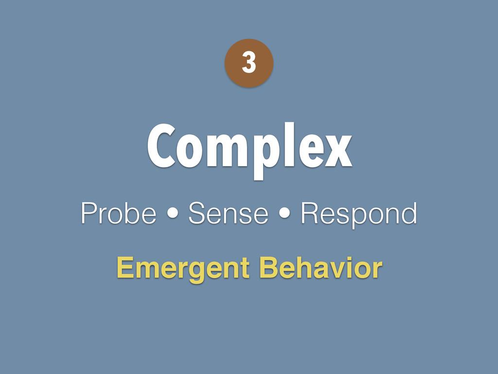 Complex Probe • Sense • Respond 3 Emergent Beha...