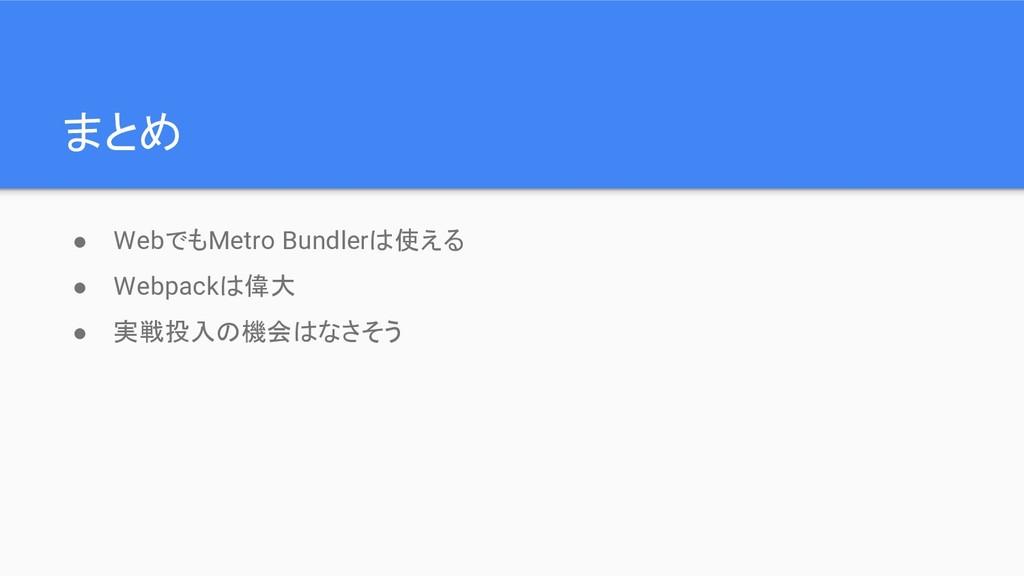 まとめ ● WebでもMetro Bundlerは使える ● Webpackは偉大 ● 実戦投...