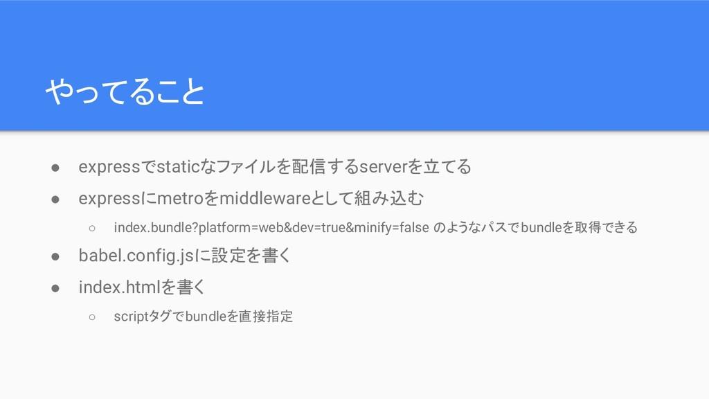 やってること ● expressでstaticなファイルを配信するserverを立てる ● e...