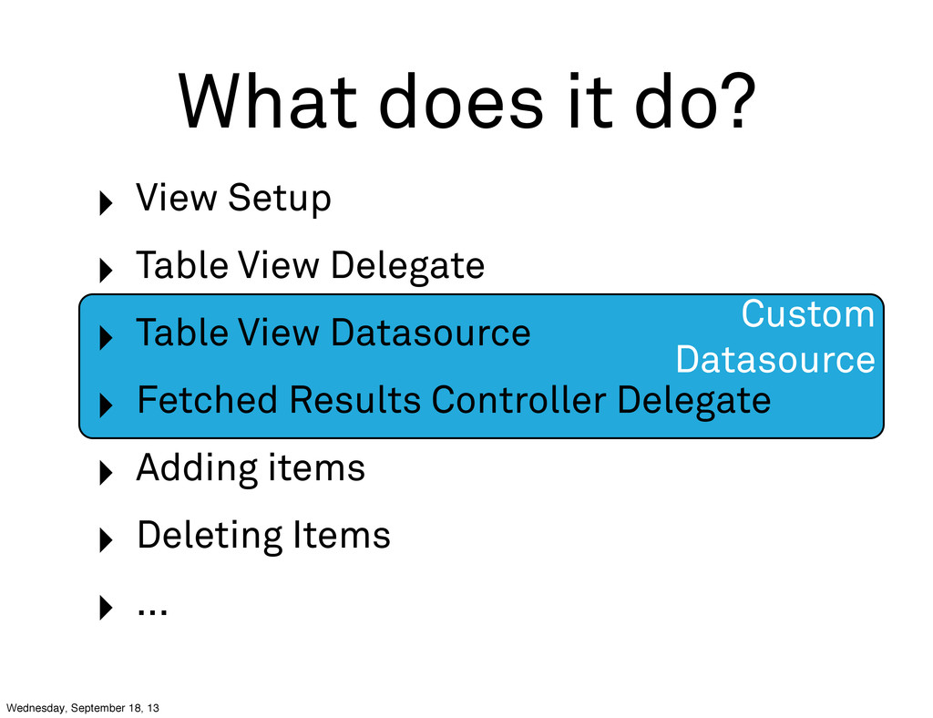 Custom Datasource What does it do? ‣ View Setup...