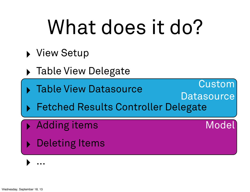 Custom Datasource Model What does it do? ‣ View...