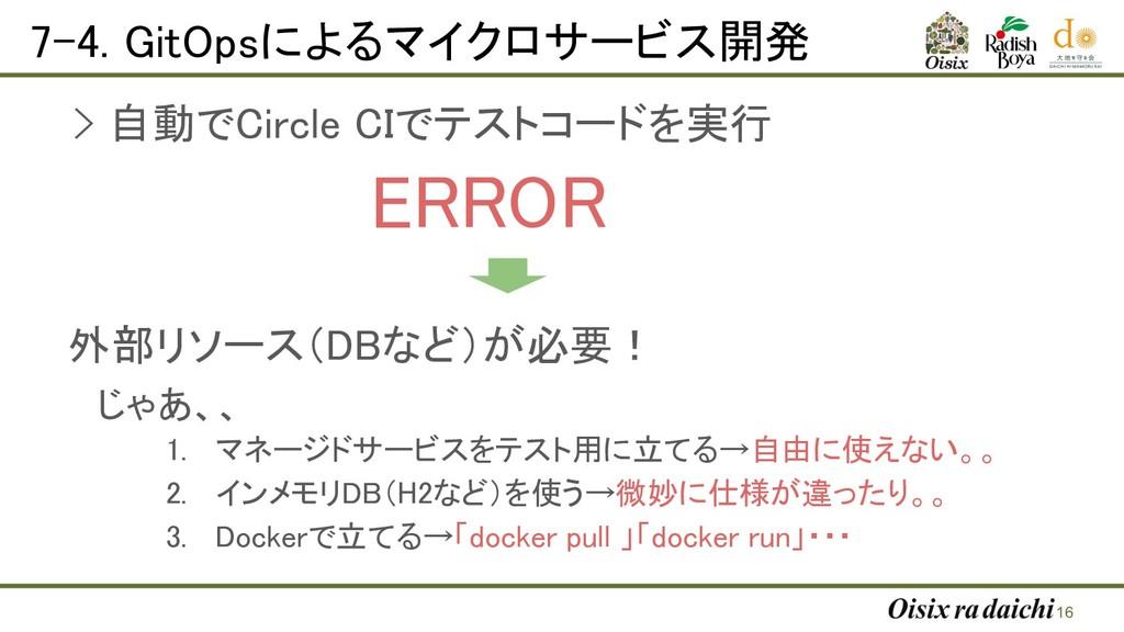 7-4. GitOpsによるマイクロサービス開発   16 > 自動でCircle CI...