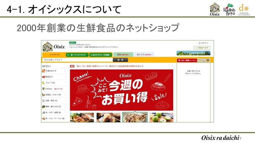 4-1. オイシックスについて 2000年創業の生鮮食品のネットショップ 7