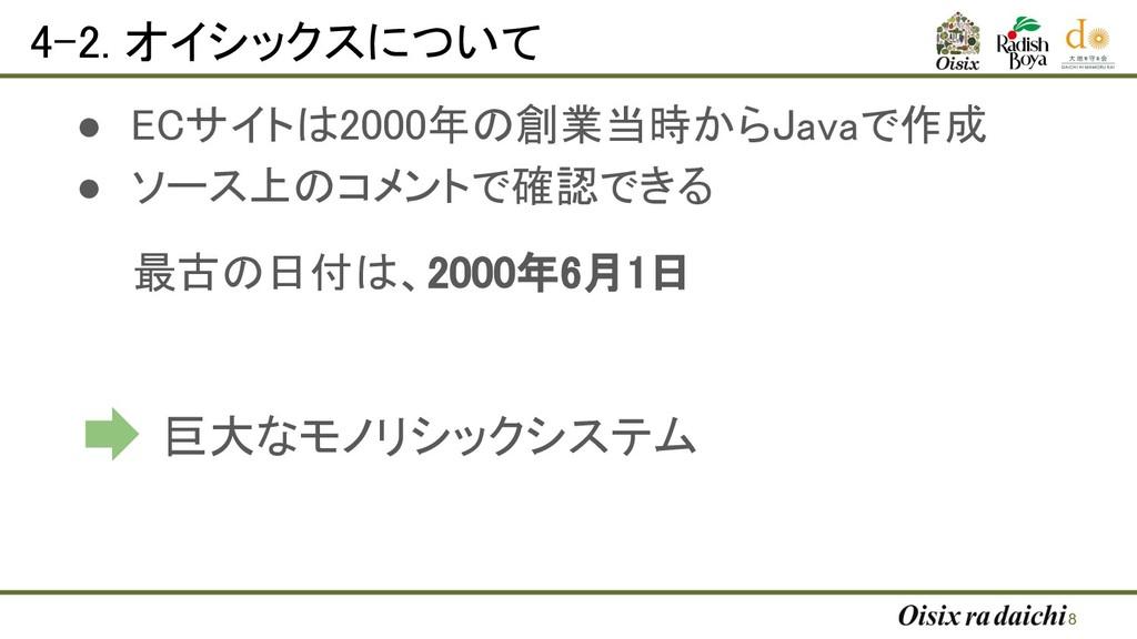 4-2. オイシックスについて ● ECサイトは2000年の創業当時からJavaで作成 ●...