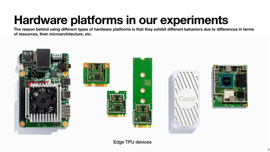 48 Edge TPU devices Hardware platforms in our e...