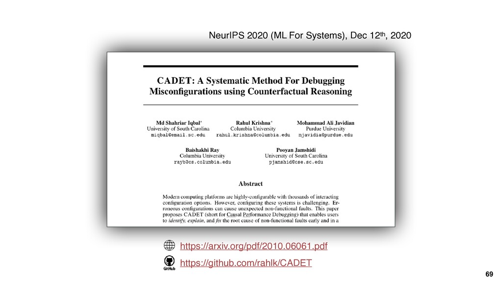 69 NeurIPS 2020 (ML For Systems), Dec 12th, 202...