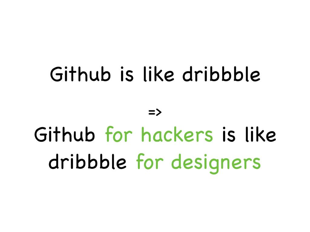 Github is like dribbble => Github for hackers i...