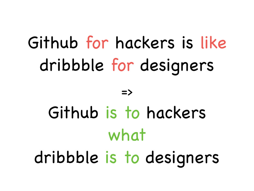 => Github for hackers is like dribbble for desi...