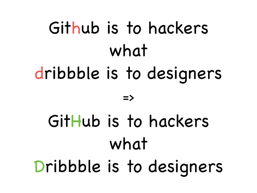 => Github is to hackers  what  dribbble is to...