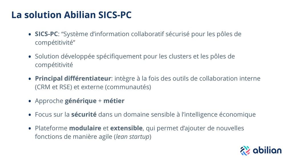 """La solution Abilian SICS-PC • SICS-PC: """"Système..."""