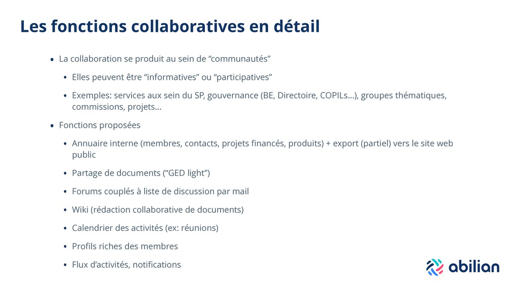 Les fonctions collaboratives en détail • La col...