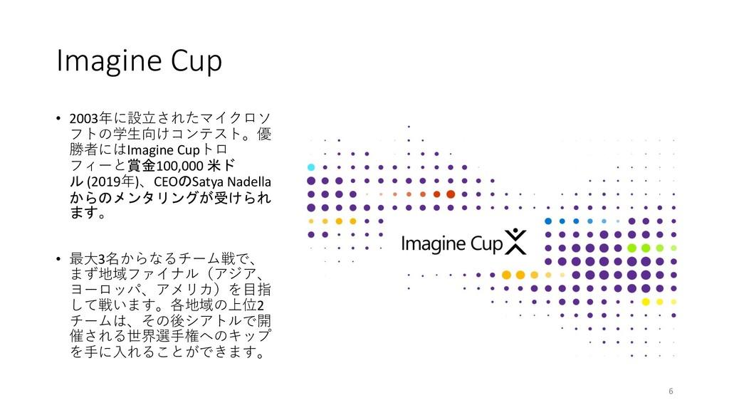 Imagine Cup • 2003年に設⽴されたマイクロソ フトの学⽣向けコンテスト。優 勝...