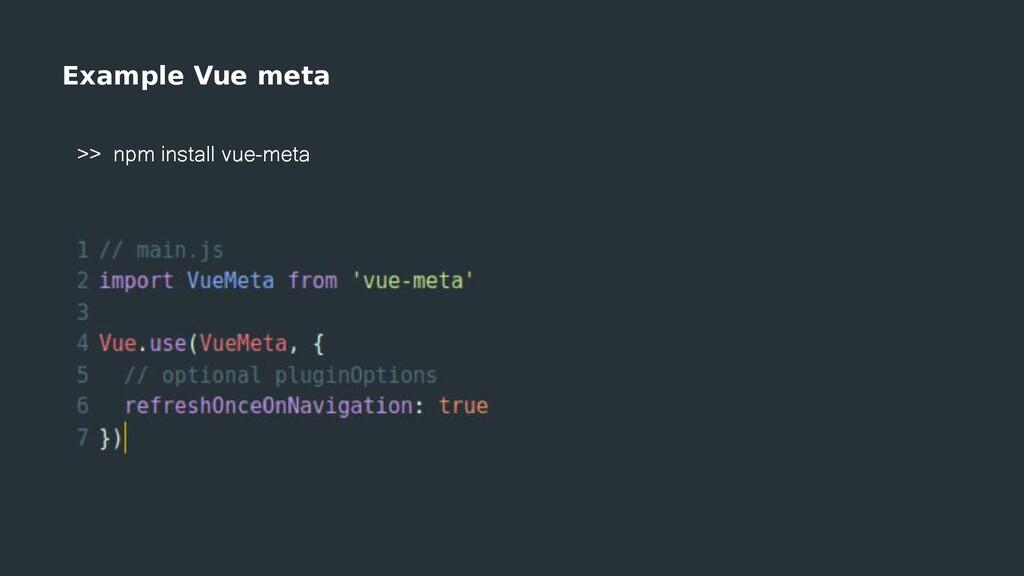 Example Vue meta >> npm install vue-meta