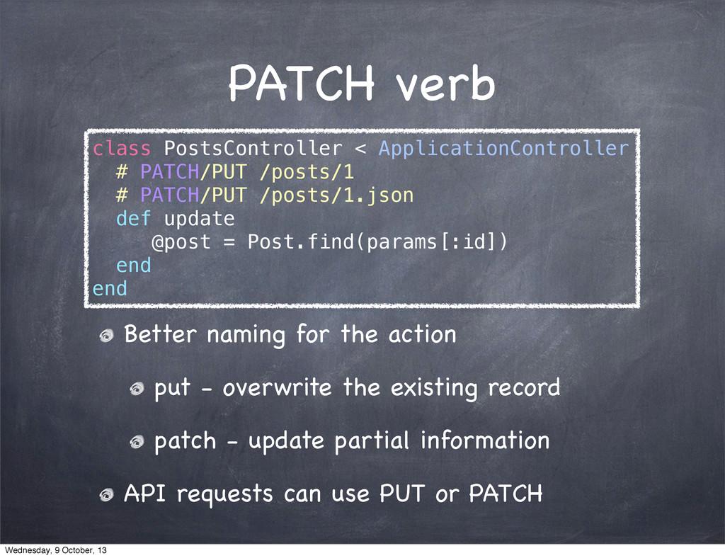 PATCH verb class PostsController < ApplicationC...