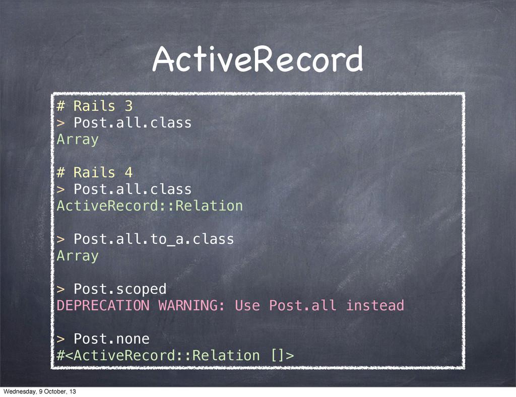 ActiveRecord # Rails 3 > Post.all.class Array #...