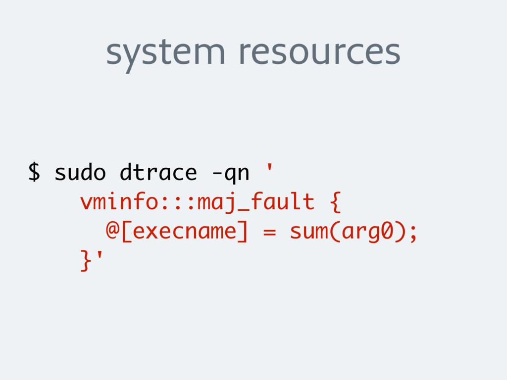 system resources $ sudo dtrace -qn ' vminfo:::m...