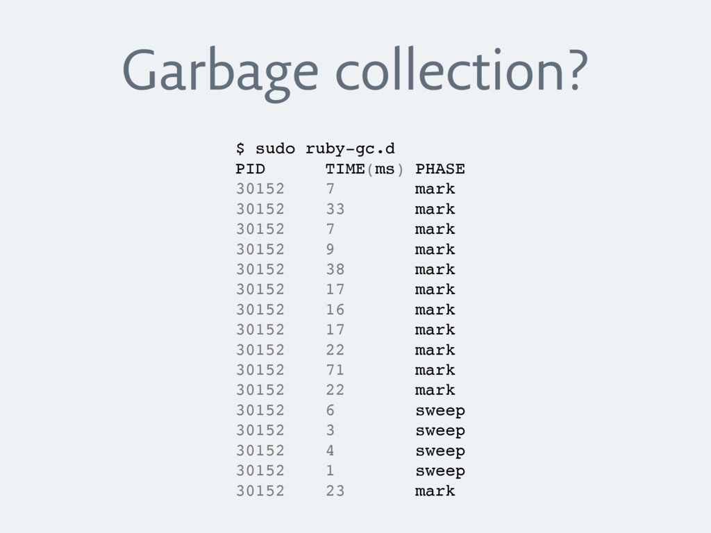 Garbage collection? $ sudo ruby-gc.d PID TIME(m...