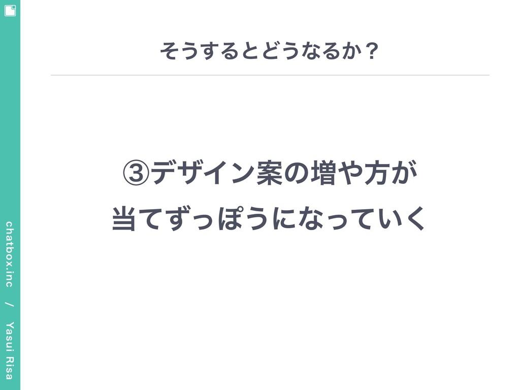 chatbox.inc / Yasui Risa そうするとどうなるか? ③デザイン案の増...