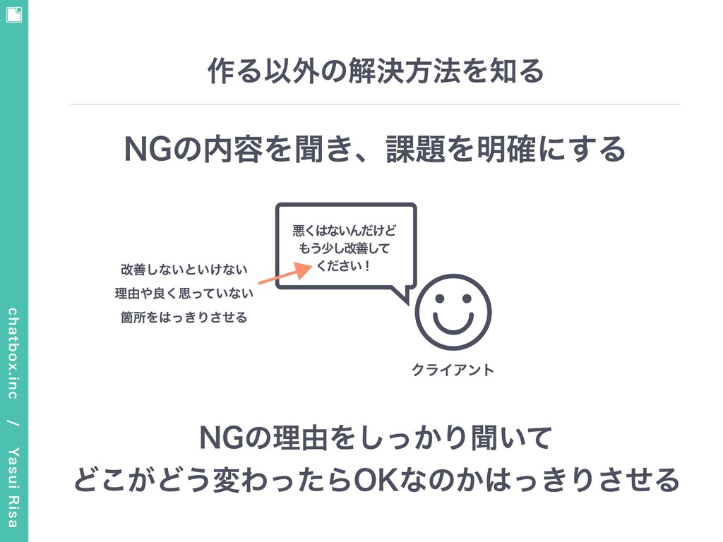 chatbox.inc / Yasui Risa 作る以外の解決⽅法を知る NGの内容を聞...