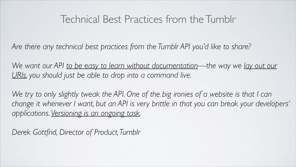 Technical Best Practices from the Tumblr Are th...