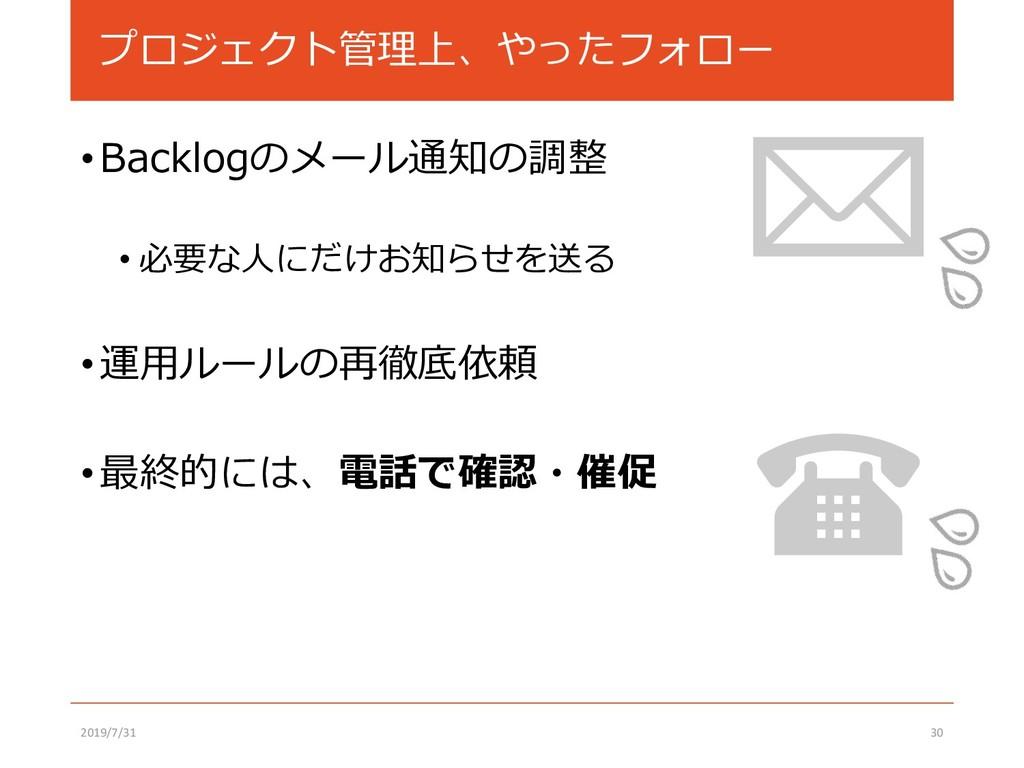 プロジェクト管理上、やったフォロー •Backlogのメール通知の調整 • 必要な人にだけお知...
