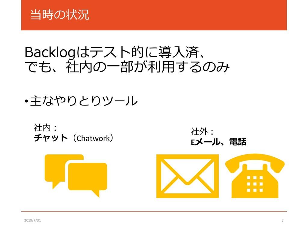 当時の状況 Backlogはテスト的に導入済、 でも、社内の一部が利用するのみ •主なやりとり...