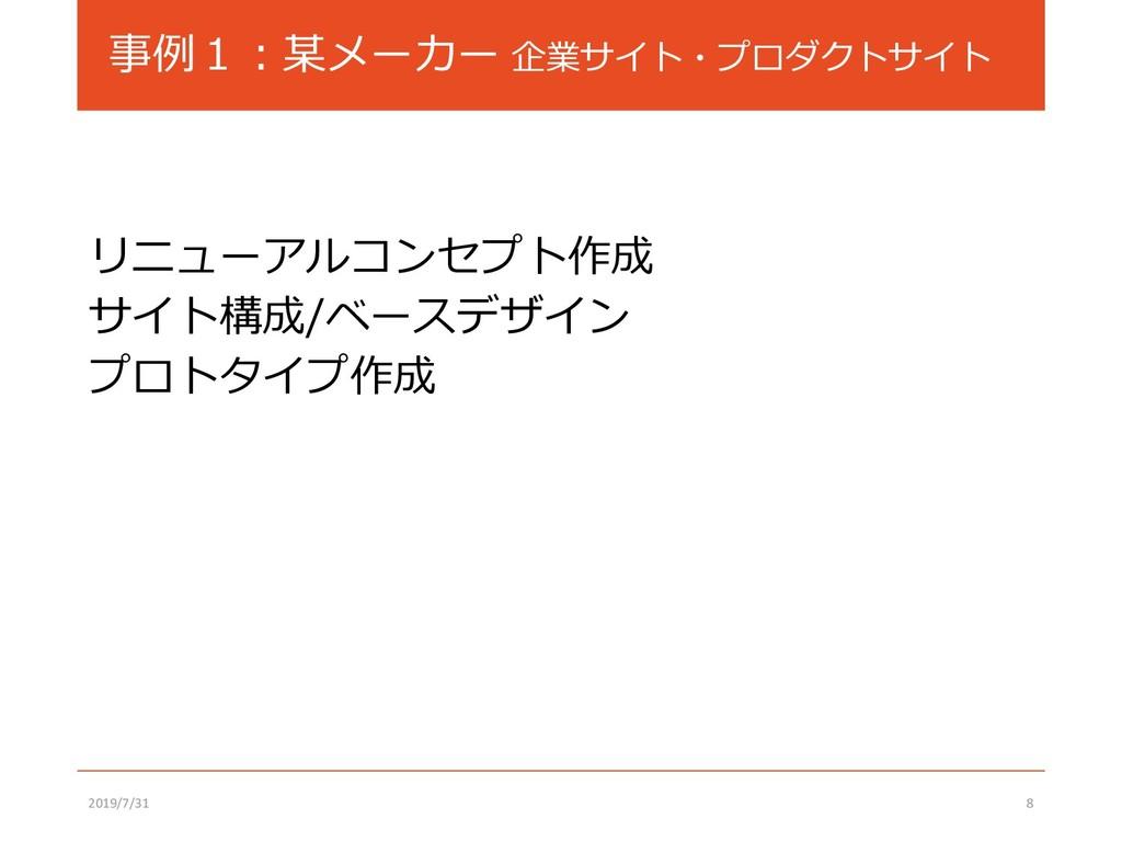 事例1:某メーカー 企業サイト・プロダクトサイト リニューアルコンセプト作成 サイト構成/ベー...