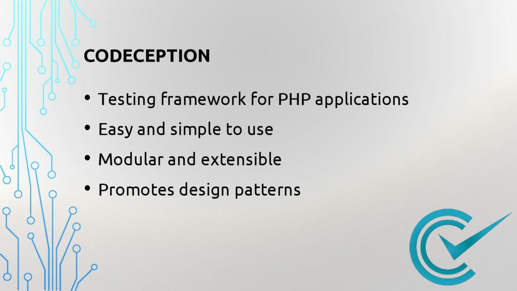 CODECEPTION • Testing framework for PHP applica...