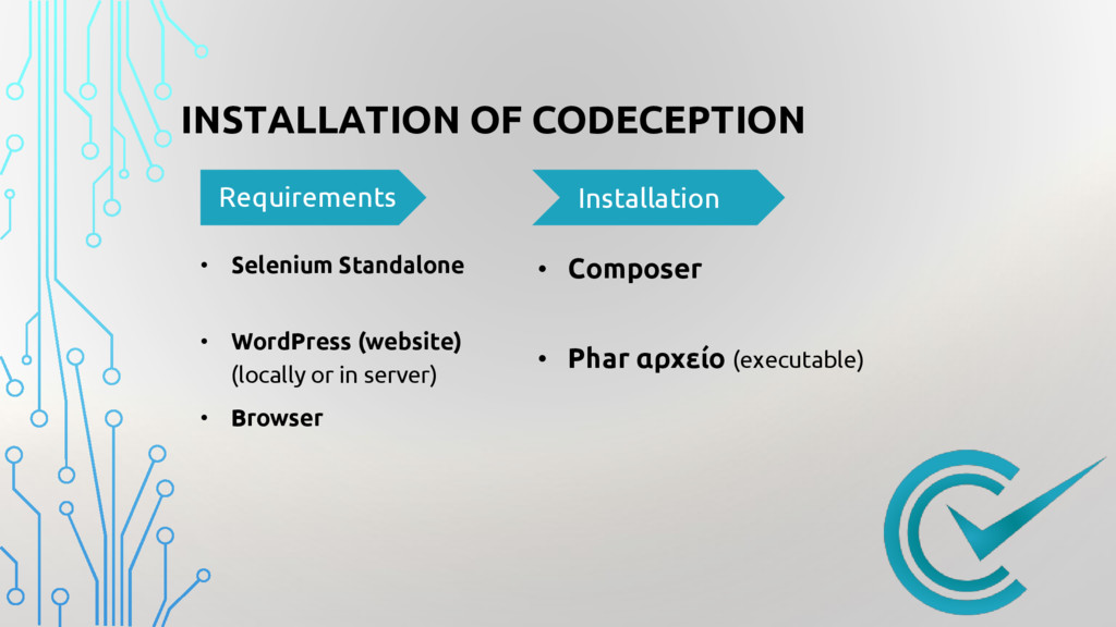INSTALLATION OF CODECEPTION Requirements • Sele...