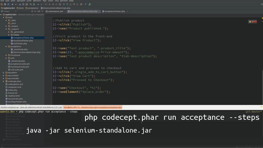 php codecept.phar run acceptance --steps java -...