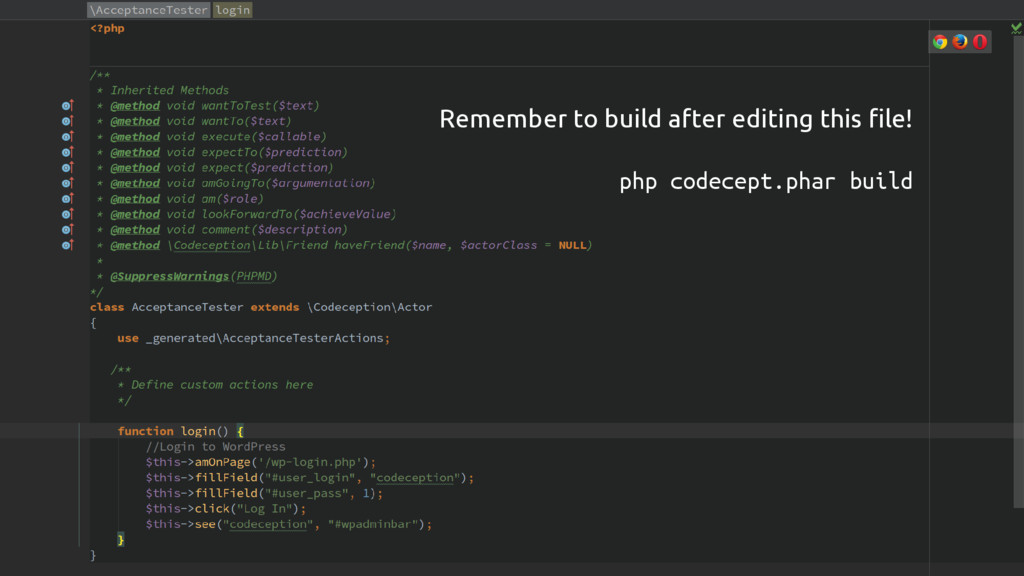 CODECEPTION Remember to build after editing thi...