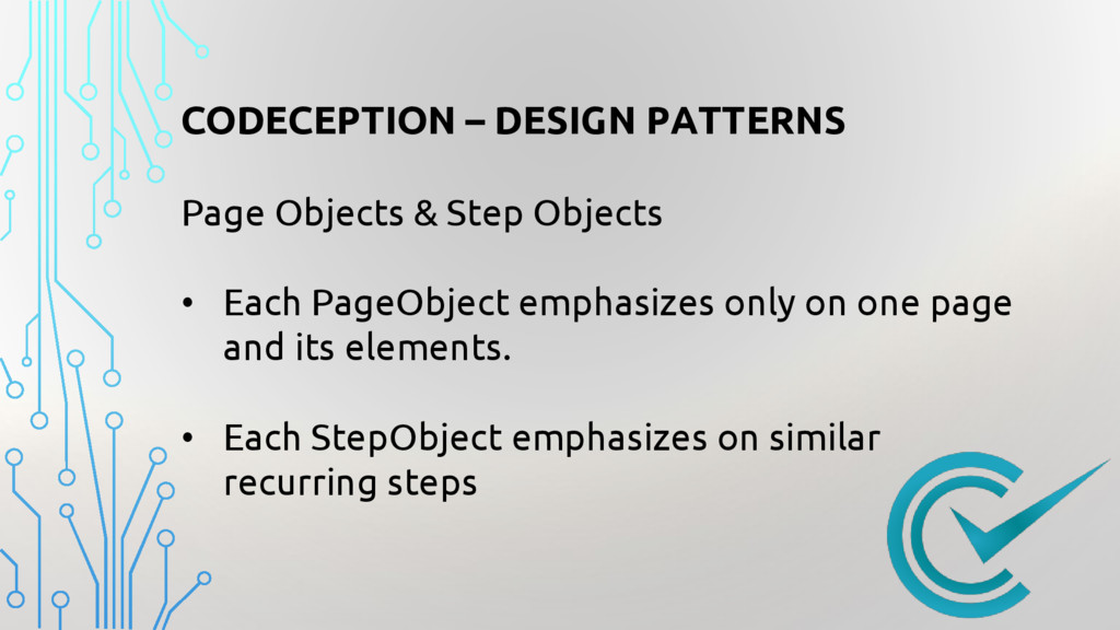 CODECEPTION – DESIGN PATTERNS Page Objects & St...