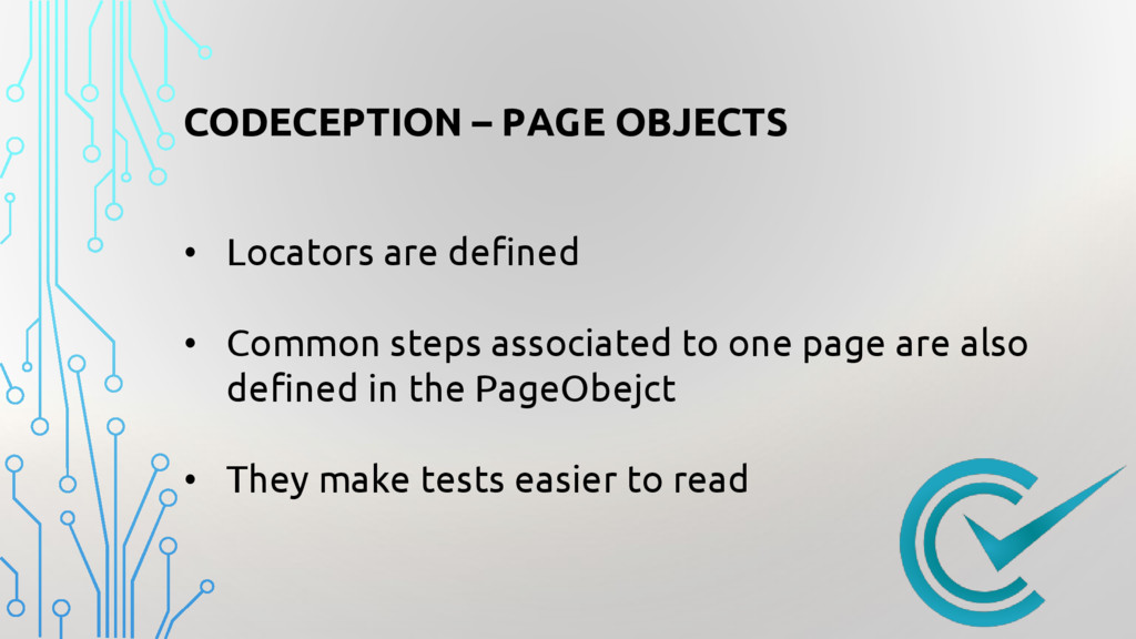 CODECEPTION – PAGE OBJECTS • Locators are defin...