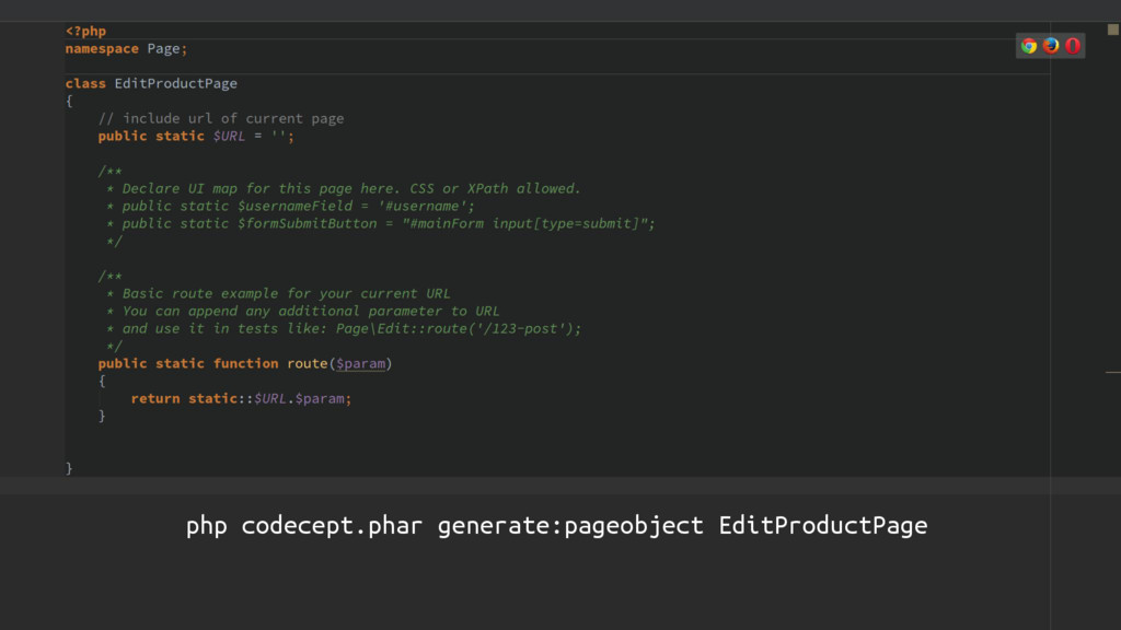 CODECEPTION php codecept.phar generate:pageobje...