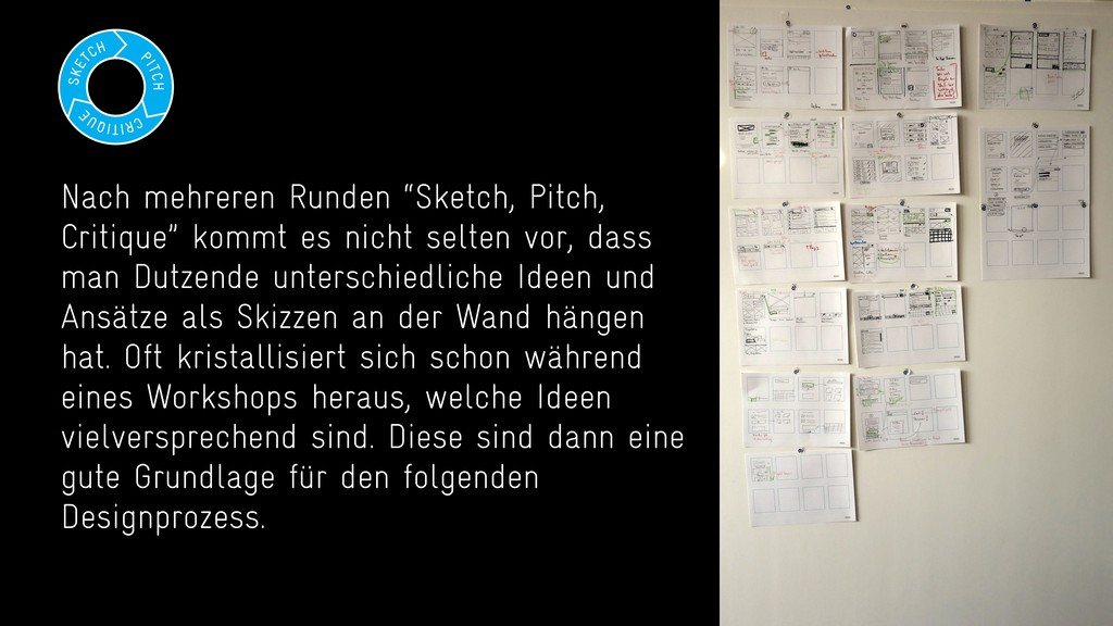"Nach mehreren Runden ""Sketch, Pitch, Critique"" ..."