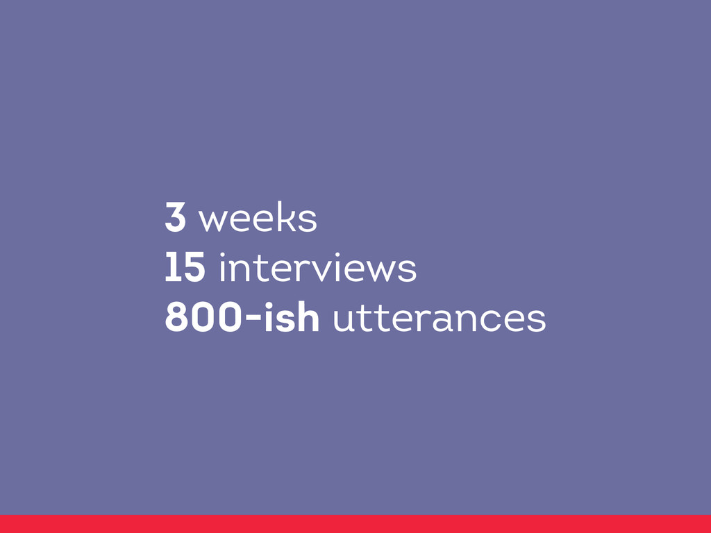 3 weeks 15 interviews 800-ish utterances