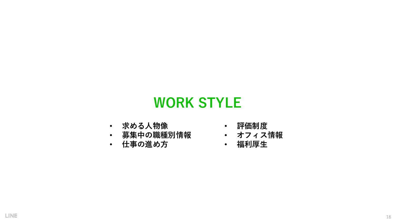 • 求める人物像 • 募集中の職種別情報 • 仕事の進め方 WORK STYLE 18 • 評...