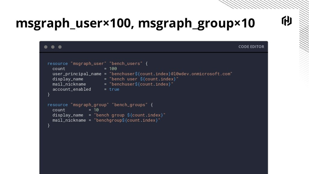 msgraph_user×100, msgraph_group×10 CODE EDITOR ...