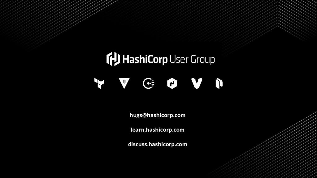 hugs@hashicorp.com learn.hashicorp.com discuss....