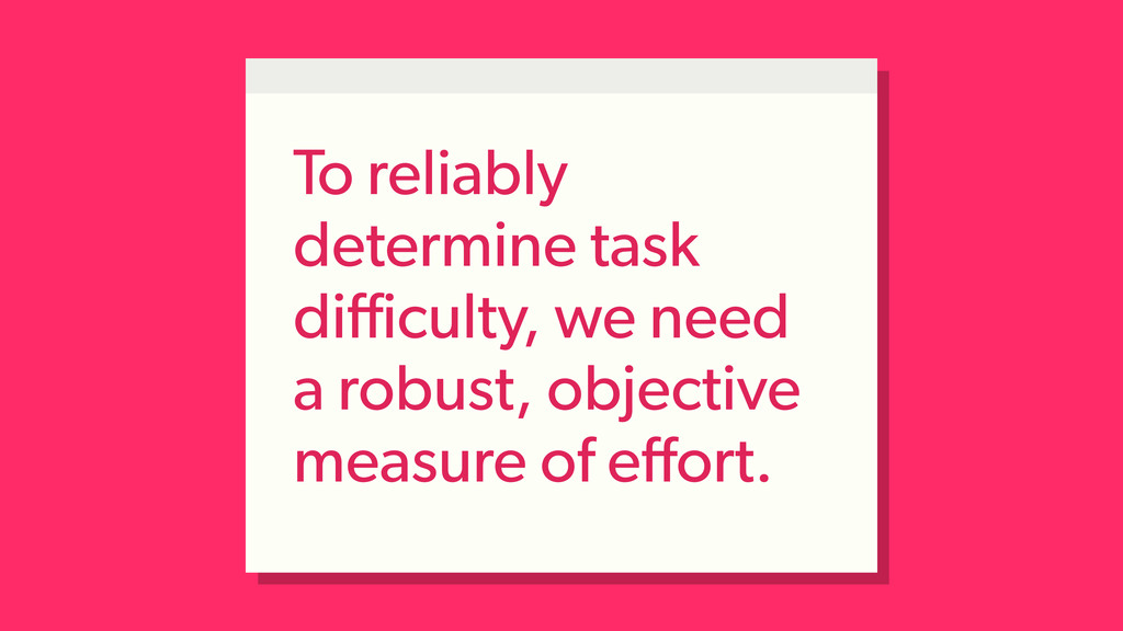 To reliably determine task difficulty, we need a ...