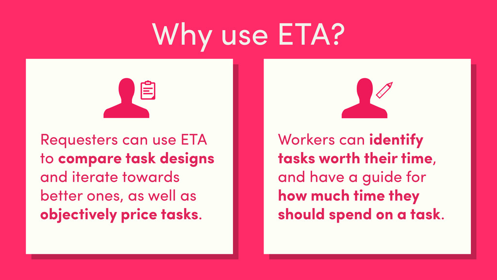 Why use ETA? Requesters can use ETA to compare ...