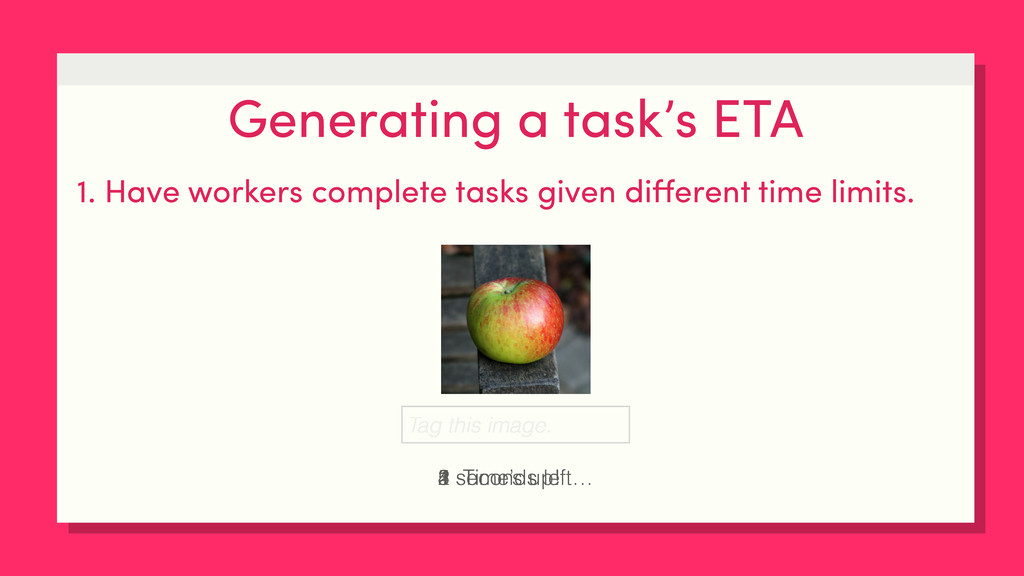 Generating a task's ETA 1. Have workers complet...