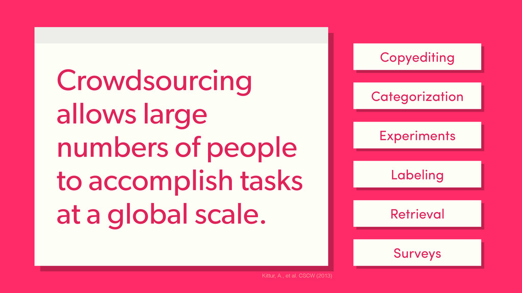 Crowdsourcing allows large numbers of people to...