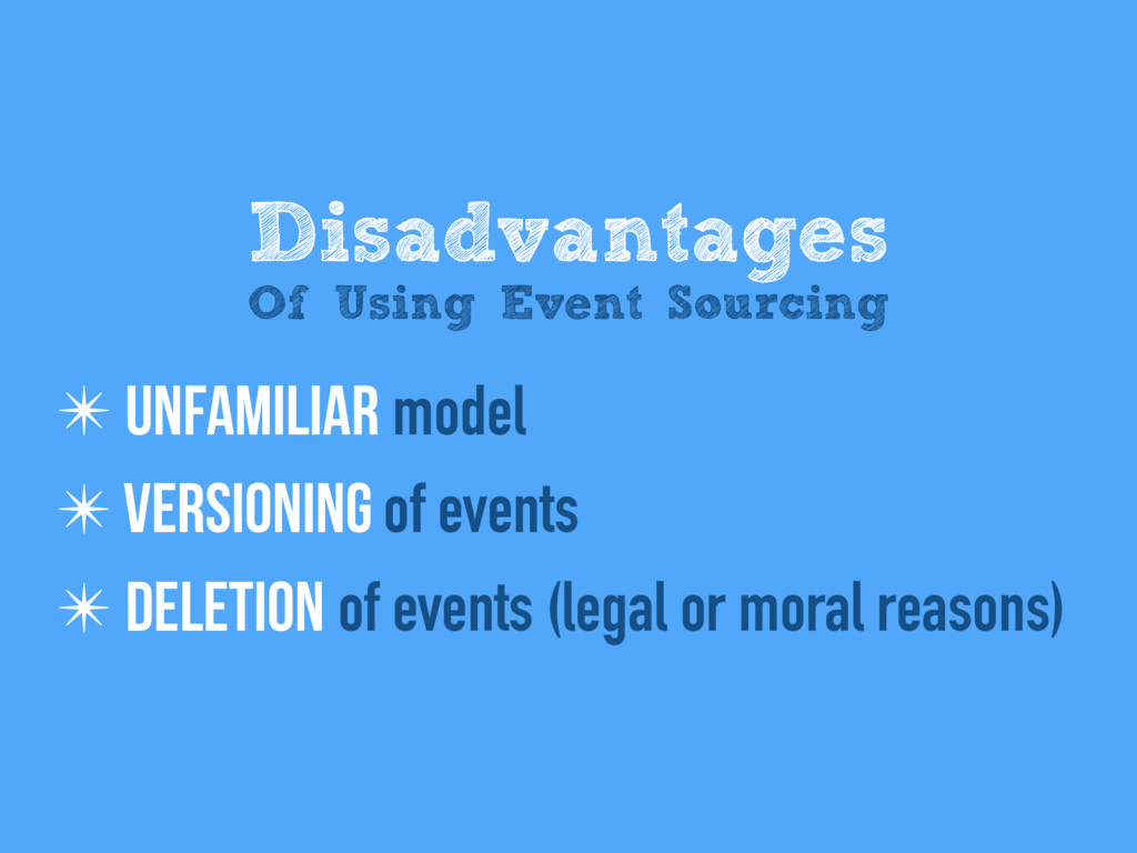 ✴ Unfamiliar model ✴ Versioning of events ✴ Del...
