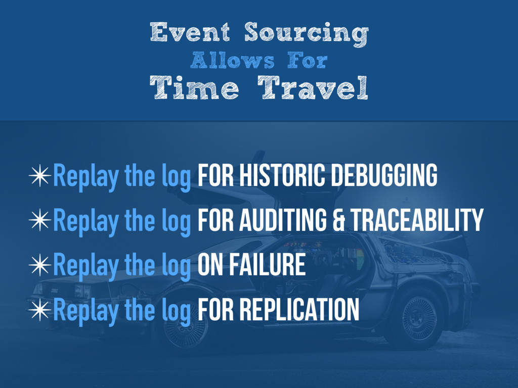 Event Sourcing Allows For Time Travel ✴Replay t...