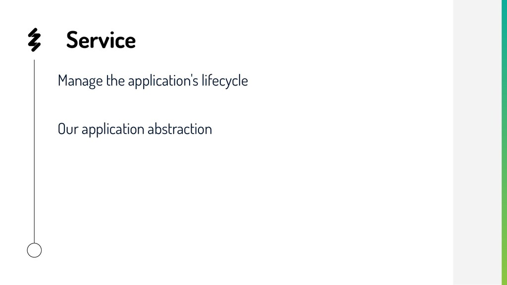 Service Manage the application's lifecycle Our ...