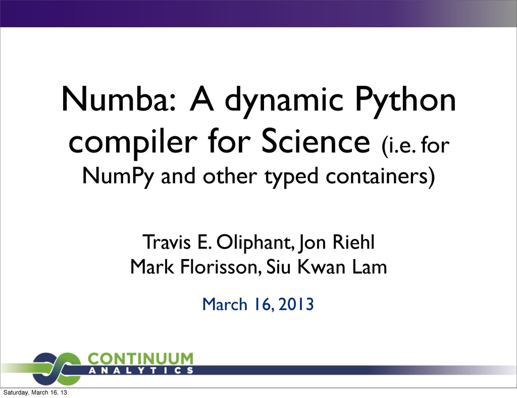 Numba: A dynamic Python compiler for Science (i...